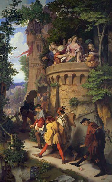 Moritz von Schwind, Die Rose oder Die Künstlerwanderung, 1846/47, Öl auf Leinwand (© Staatliche Museen zu Berlin, Nationalgalerie / Andres Kilger)
