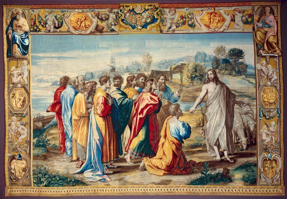 Mortlake Manufaktur nach Raffael, Weide meine Schafe, um 1630-1650 (Dresden)