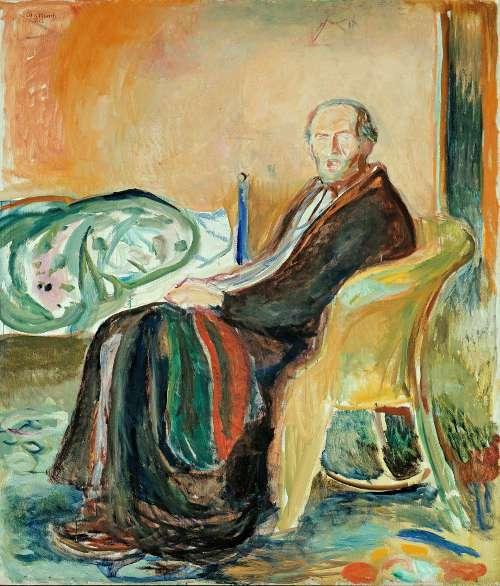 Edvard Munch, Selbstporträt mit Spanischer Grippe, 1919, Öl auf Leinwand, 150 × 131 cm (The National Museum of Art, Architecture and Design, Oslo)