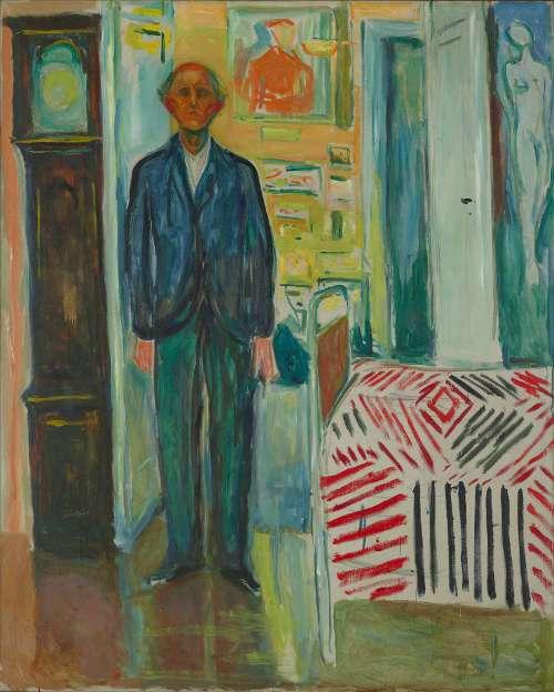 Edvard Munch, Selbstporträt: Zwischen Uhr und Bett, 1940–1943, Öl auf Leinwand, 149,5 × 120,5 cm (Foto: courtesy Munch Museum, Oslo)
