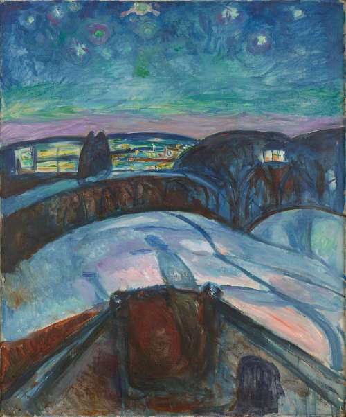 Edvard Munch, Sternennacht, 1922–1924, Öl auf Leinwand, 120,5 × 100 cm (Foto: courtesy Munch Museum, Oslo)