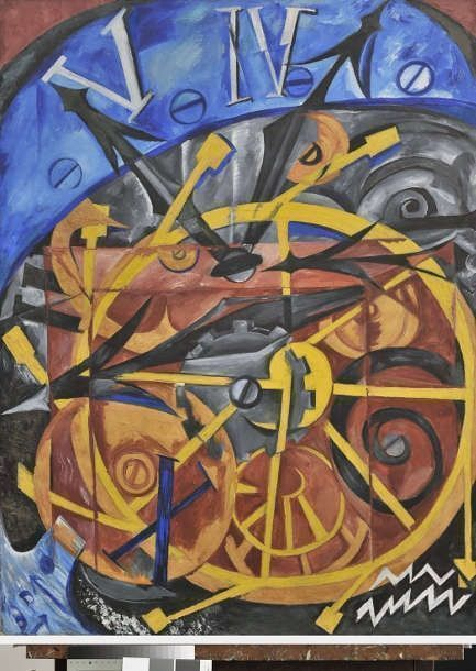 Natalja Gontscharowa, Die Uhr, 1910, Öl auf Leinwand, 105 x 79 cm (© VG Bild-Kunst, Bonn 2021, © Staatliche Museen zu Berlin, Nationalgalerie / Andres Kilger)