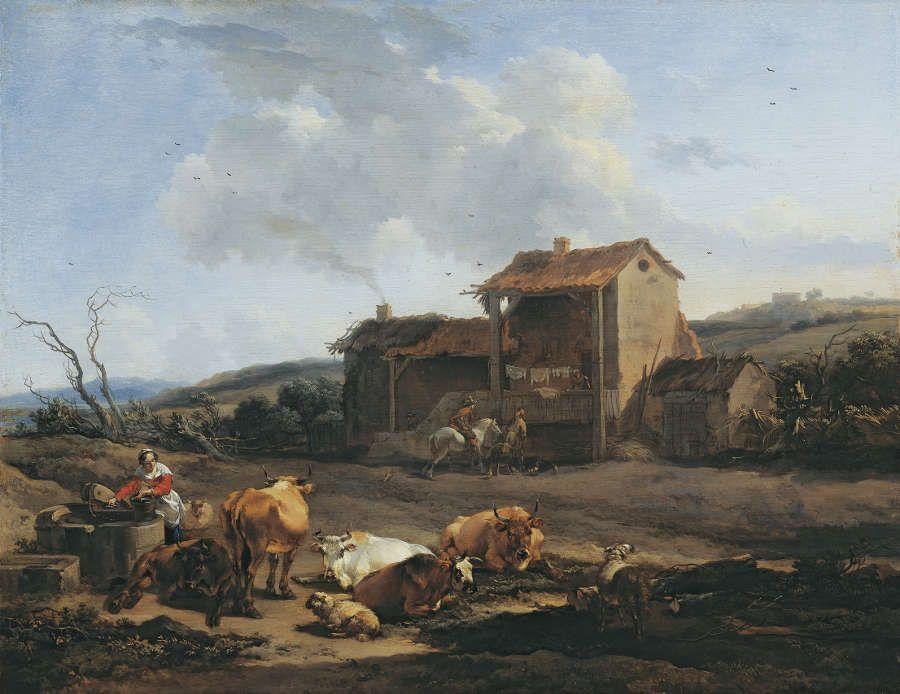 Nicolaes Berchem, Landschaft mit Brunnen, Ende 1650er Jahre, Öl/Holz, 37 x 47,8 cm (Princely Collections Liechtenstein)