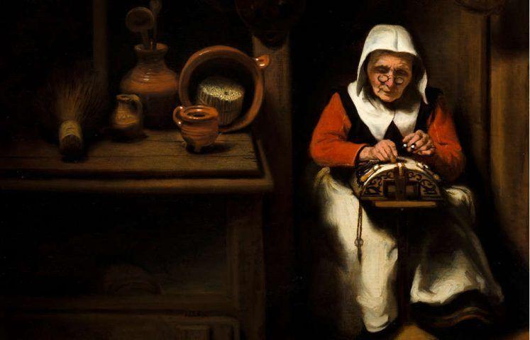 Nicolaes Maes, Die alte Spitzenklöpplerin, Detail, um 1655, Öl/Holz, 38.8 × 35.9 cm (Mauritshuis, Den Haag, erworben mit der Hilfe der Freunde der Mauritshuis Stiftung, der VSB Stiftung Den Haag und der Rembrandt Association, 1994 (1101) © Mauritshuis, Den Haag)