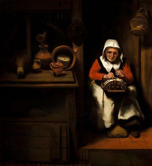 Nicolaes Maes, Die alte Spitzenklöpplerin, um 1655, Öl/Holz, 38.8 × 35.9 cm (Mauritshuis, Den Haag, erworben mit der Hilfe der Freunde der Mauritshuis Stiftung, der VSB Stiftung Den Haag und der Rembrandt Association, 1994 (1101) © Mauritshuis, Den Haag)
