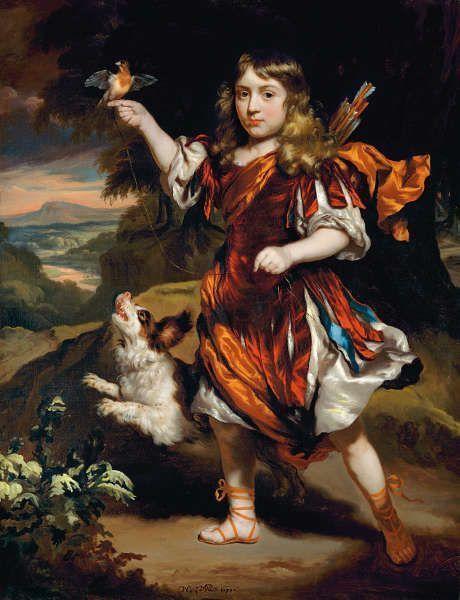 Nicolaes Maes, Junge mit Eisvogel und Hund, 1671 (Privatsammlung)
