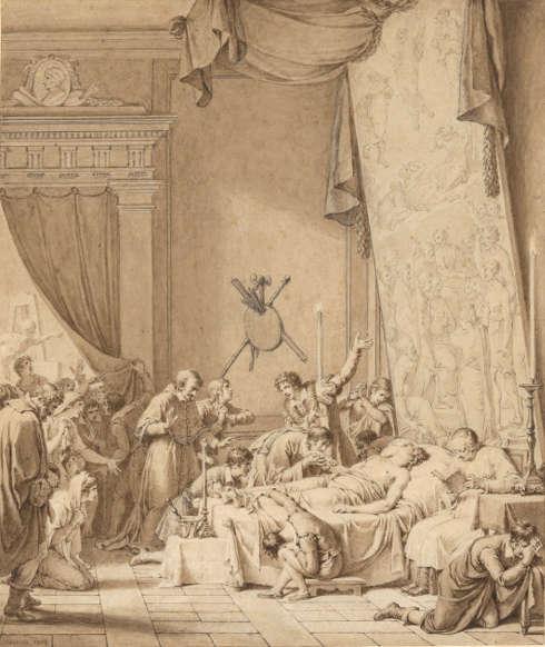 Nicolas-André Monsiau, Der Tod Raffaels, 1804, Feder in Braun über Bleistift, hellbraun laviert, auf beigem Papier, 32,2 x 27,2 cm (© Hamburger Kunsthalle, Kupferstichkabinett / bpk, Foto: Christoph Irrgang)