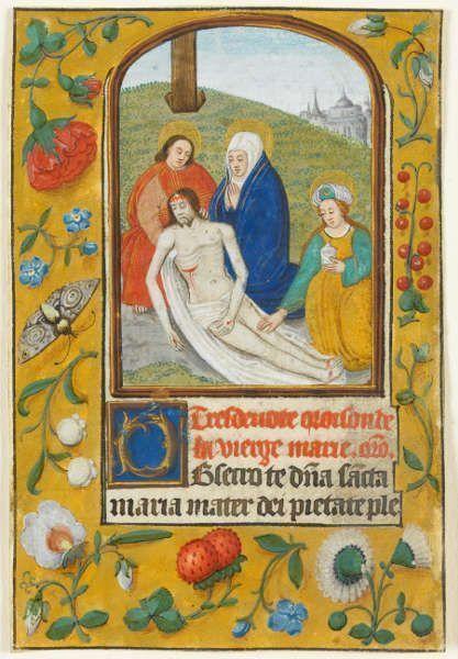 Niederlande, Beweinung Christi (aus einem Stundenbuch), Ende 15. Jahrhundert, Deckfarben auf Pergament (Staatsgalerie Stuttgart, Graphische Sammlung)