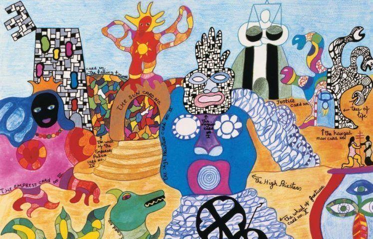 Niki de Saint Phalle, Tarot Garten, Detail, 1991, Lithografie, 60.3 x 80 cm © 2019 NIKI CHARITABLE ART FOUNDATION. Foto: Ed Kessler