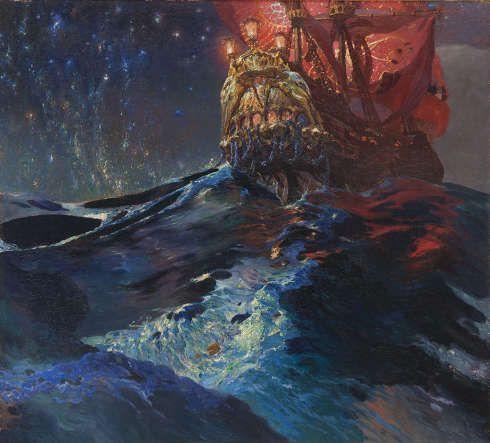 Nikolai Triik, Lennuk, das Schiff von Kalevipoeg, 1910, Tempera und Kreude auf Papier, 72 x 135,3 cm (Tallinn, Musée d'art d'Estonie (EKM M 3438) Photo courtoisie du Musée d'art d'Estonie)