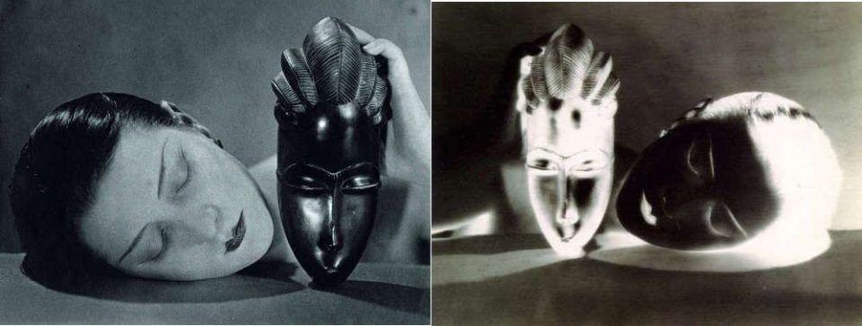 Man Ray, Noire et Blanche, 1926 (um 1970), Silbergelatineprint & Schwarz und Weiß (Negativ, Kiki mit Baule-Maske), 1926, Selbergelatineprint (Galerie 1900-2000, Paris © MAN RAY TRUST/ Bildrecht, Wien, 2017)