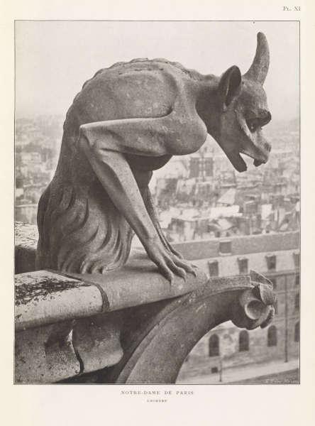 François Sylvain, Gargoyle, Platte XI, aus: Die Fassade von Notre-Dame de Paris, Paris 1905/06.