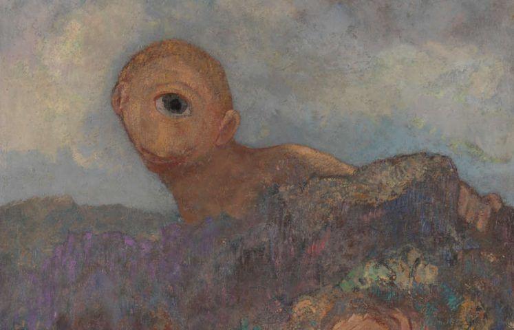 Odilon Redon, Le cyclope [Der Zyklop], Detail, um 1914, Öl auf Karton auf Holz, 65,8 x 52,7 cm (Coll. Kröller-Müller Museum, Otterlo)