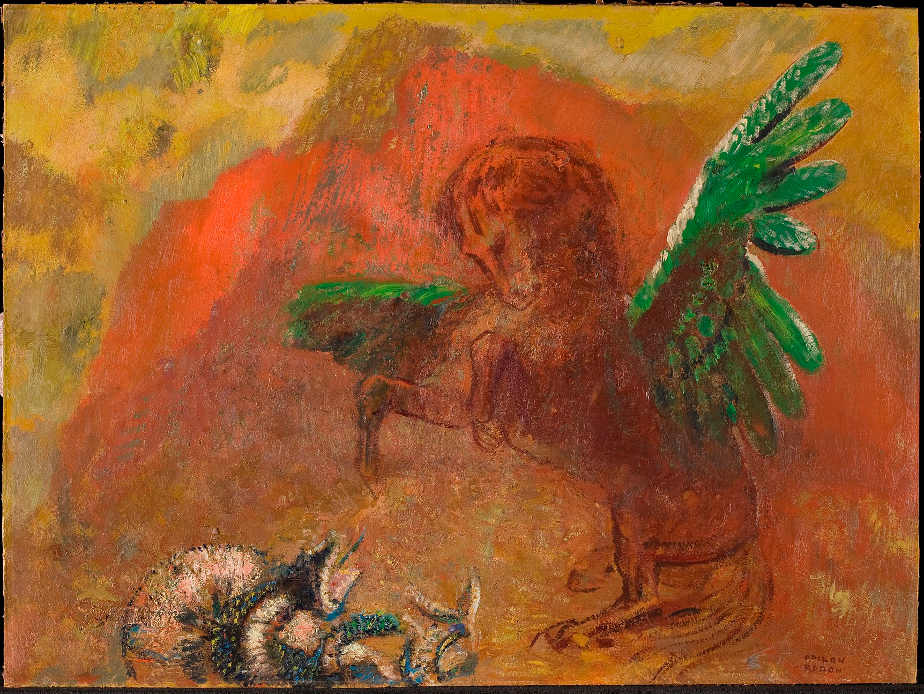 Odilon Redon, Pegasus und die Hydra, nach 1900, Öl auf Karton, 47 x 63.1 cm, Collection Kröller-Müller Museum, Otterlo, The Netherlands (KM 104.067) © Collection Kröller-Müller Museum, Otterlo. Photo Rik Klein Gotink.