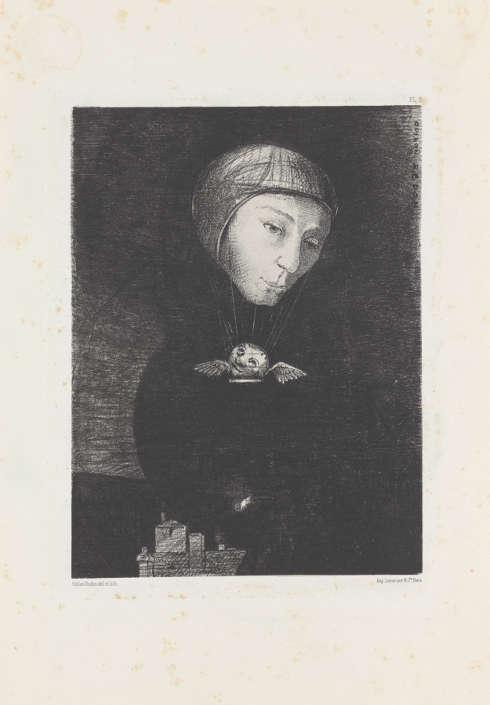 Odilon Redon, Triste montée [Trauriger Aufstieg], 1879, Lithografie, 41,6 x 28,6 cm (Kröller-Müller Museum, Otterlo)