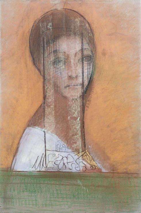 Odilon Redon, Femme voilée [Verschleierte Frau], um 1895–1900, Pastell und Kreide auf blauem Papier, 47,8 x 32 cm (Kröller-Müller Museum, Otterlo)