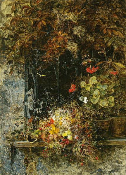 Olga Wisinger-Florian, Herbstblumen am Fenster, 1887 (© Privatsammlung, Wien Foto: Graphisches Atelier Neumann, Wien)