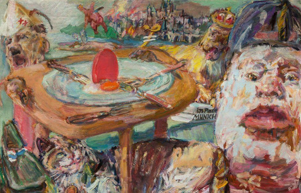 Oskar Kokoschka, Das rote Ei, Detail, 1940–1941, Öl/Lw, 61 x 76 cm (National Gallery in Prague, © Fondation Oskar Kokoschka, Vevey / 2017 ProLitteris, Zürich)