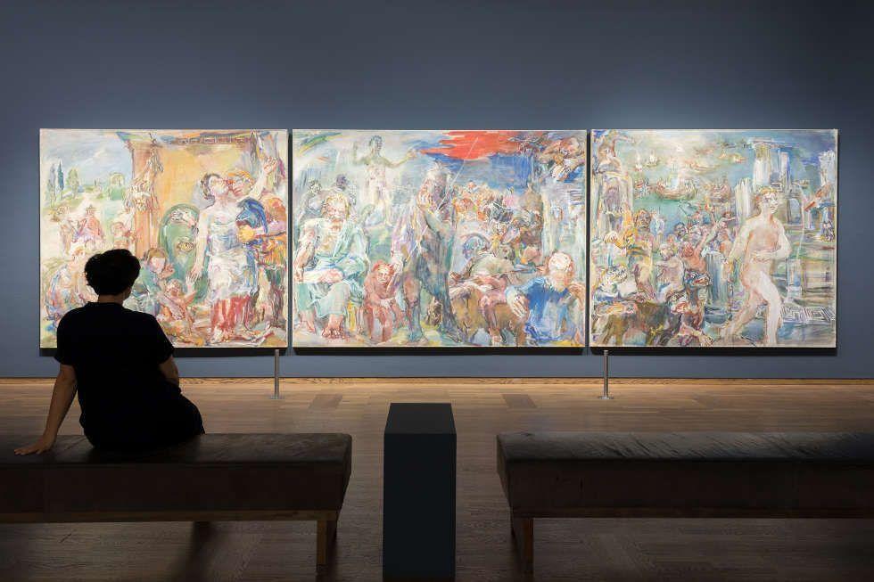 """Oskar Kokoschka, Thermopylae (Abschied des Leonidas, Der Kampf, Die Barbaren), 1954, Tempera auf Leinwand, 225 × 800 cm, Ausstellungsansicht """"Oskar Kokoschka. Expressionist, Migrant, Europäer"""" (Universität Hamburg)"""