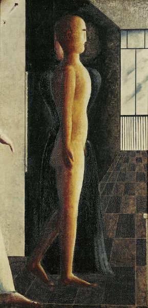 Oskar Schlemmer, Akt, Frau und Kommender, 1925, Öl auf Leinwand, 128 x 64,2 cm (Staatliche Museen zu Berlin, Nationalgalerie © Staatliche Museen zu Berlin, Nationalgalerie / Jörg P. Anders)