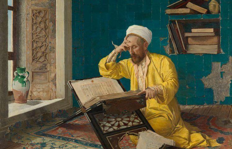 Osman Hamdi Bey, Über den Koran meditierend, Detail, 1902 (Foto: Johannes Stoll / Belvedere, Wien)