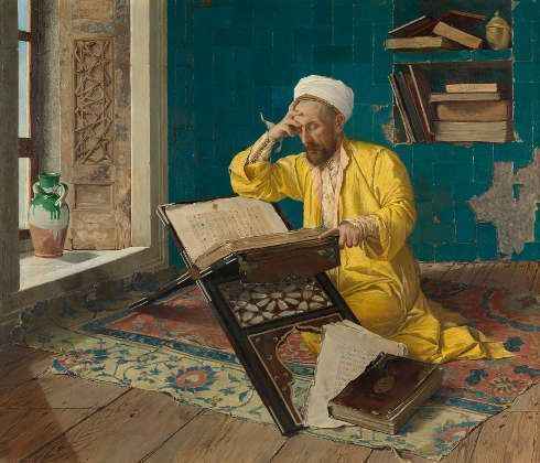 Osman Hamdi Bey, Über den Koran meditierend, 1902 (Foto: Johannes Stoll / Belvedere, Wien)