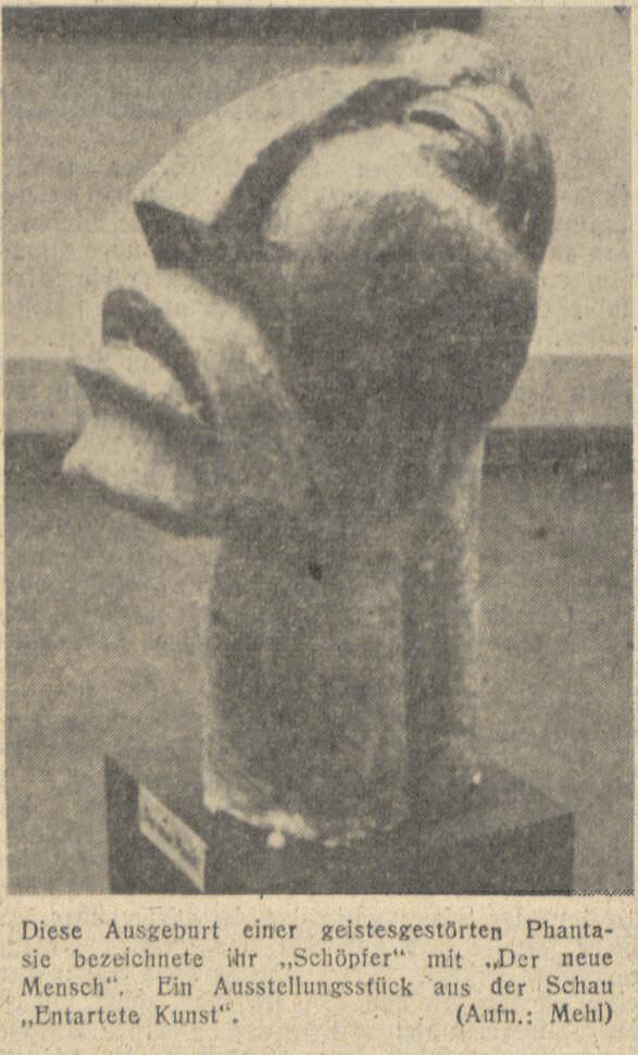"""Ostdeutsche Morgenpost vom 11.03.1941 mit einer Replik des Großen Kopfs in der Ausstellung """"Entartete Kunst"""" im Grenzlandmuseum Beuthen, Foto: bpk / Staatsbibliothek zu Berlin."""