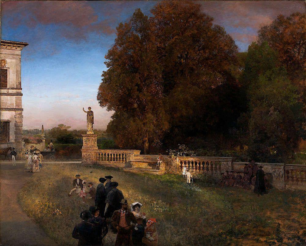 Oswald Achenbach, Im Park der Villa Borghese, 1886, Öl auf Leinwand, 122 x 152 cm (© Stiftung Museum Kunstpalast, Düsseldorf, Foto: Horst Kolberg, Neuss)