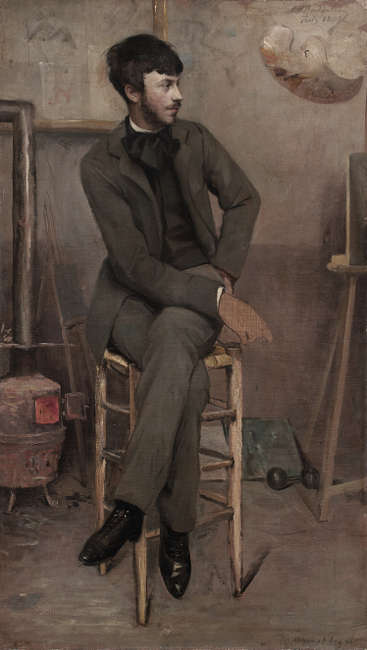 Ottilie W. Roederstein, Bildnis eines Malers in einem Pariser Atelier, 1887, Öl/Lw, 86,1 × 49,5 cm (Städel Museum, Frankfurt am Main, Foto: Städel Museum)