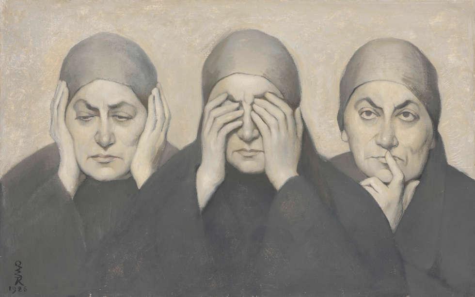Ottilie W. Roederstein, Lebensweisheit oder Drei weltabgewandte Frauen, 1926, Tempera auf Leinwand, 46,0 × 73,0 cm (Stadtmuseum Hofheim am Taunus, Foto: Städel Museum, Frankfurt am Main)