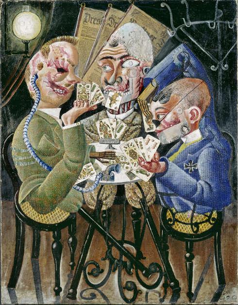 Otto Dix, Die Skatspieler, 1920 (1995 erworben durch die Freunde der Nationalgalerie und das Land Berlin © VG Bild-Kunst, Bonn 2021. Nationalgalerie – Staatliche Museen zu Berlin / Jörg P. Anders)