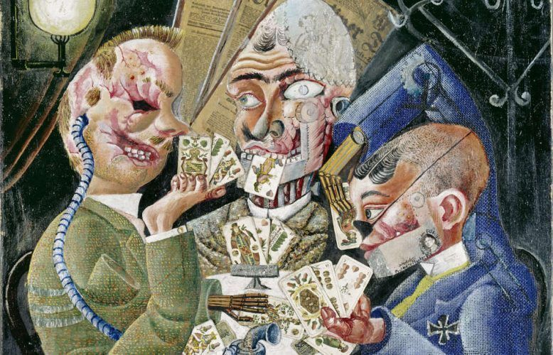 Otto Dix, Die Skatspieler, Detail, 1920 (1995 erworben durch die Freunde der Nationalgalerie und das Land Berlin © VG Bild-Kunst, Bonn 2021. Nationalgalerie – Staatliche Museen zu Berlin / Jörg P. Anders)