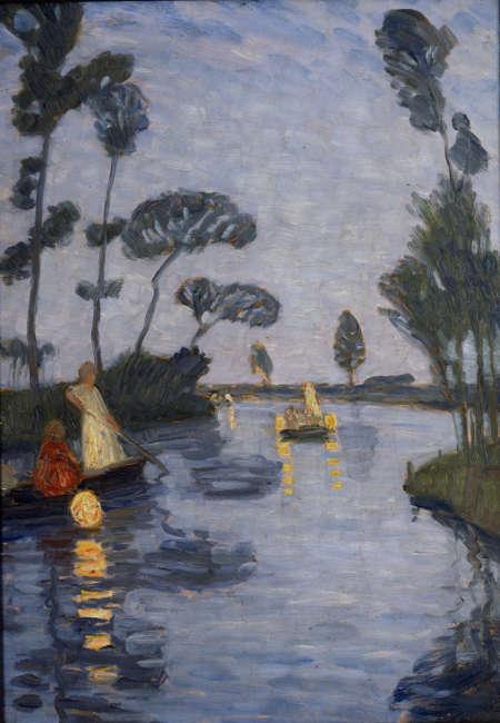 Otto Modersohn, Lampionfahrt auf der Wümme, um 1911, Öl/Malpappe, 48 x 34 cm (Privatbesitz, Worpswede, Dauerleihgabe im Otto-Modersohn-Museum, Fischerhude)