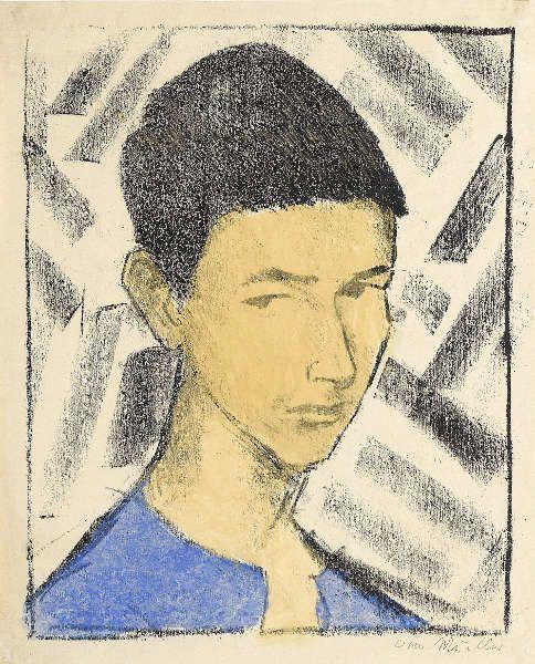 Otto Mueller, Bildnis Eugen (Knabenkopf), 1919, Lithografie, handkoloriert in Blau und Ocker auf elfenbeinfarbenem Papier (Staatsgalerie Stuttgart, Graphische Sammlung)
