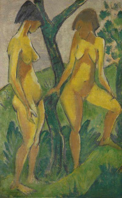 Otto Mueller, Zwei Mädchen, um 1925, Leimfarbe auf Rupfen, 175 x 111 cm (Staatliche Museen zu Berlin, Nationalgalerie © Staatliche Museen zu Berlin, Nationalgalerie / Jörg P. Anders)