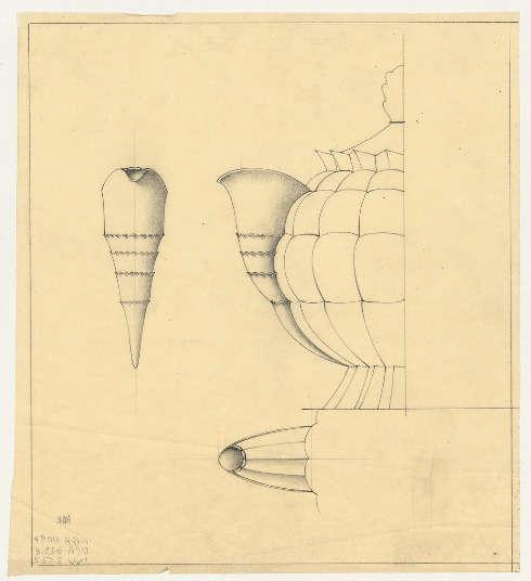 Otto Prutscher, Entwurf einer silbernen Teekanne für L. Jarosinski & J. Vaugoin, Wien, 1924 Aquafix, Bleistift © MAK