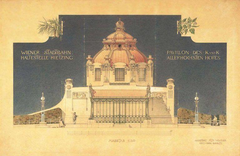 Otto Wagner, Hofpavillon der Stadtbahn in Wien-Hietzing, Orthogonalansicht, 1898 (Albertina, Wien)