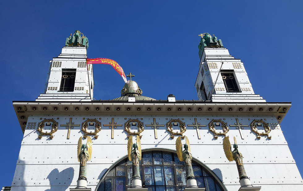 Otto Wagner, Kirche am Steinhof, 1905–1907, Fassade, Aufblick, Foto: Alexandra Matzner, ARTinWORDS.