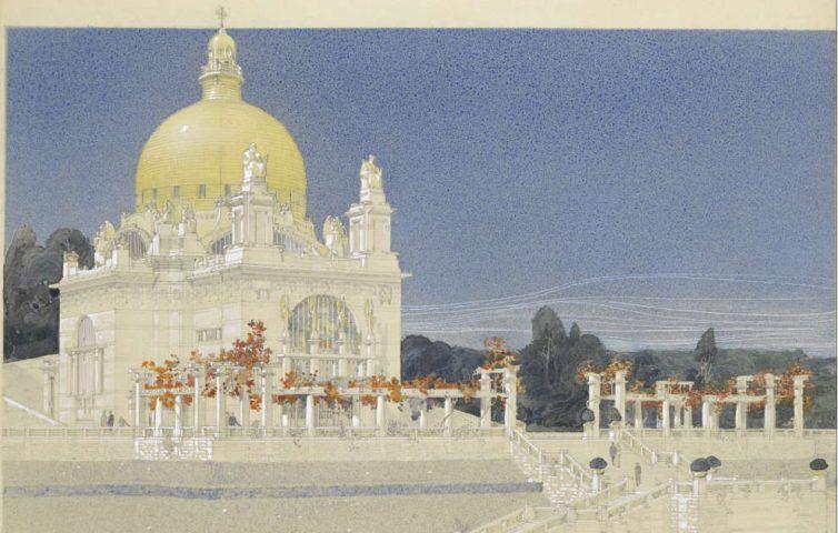 Otto Wagner, Prospekt der Kirche am Steinhof, Detail, 1902, Buntstift, Tusche, Zeichenpapier auf Leinwand, 56 x 47 cm (Wien Museum, Inv.-Nr. 96011/1)