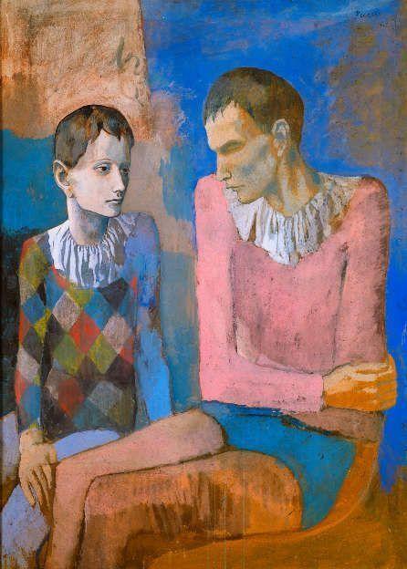 Pablo Picasso, Akrobat und junger Harlekin [Acrobate et jeune arlequin], 1905, Gouache auf Karton, 105 x 76 cm (Privatsammlung © Succession Picasso / ProLitteris, Zürich 2018)