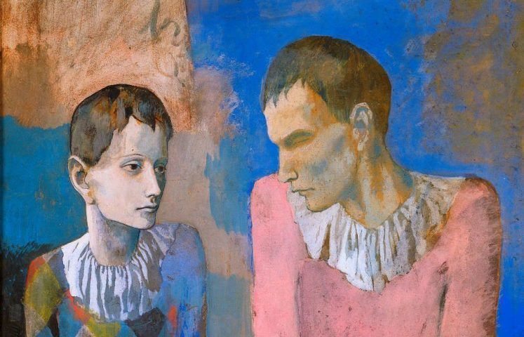 Pablo Picasso, Akrobat und junger Harlekin [Acrobate et jeune arlequin], Detail, 1905, Gouache auf Karton, 105 x 76 cm (Privatsammlung © Succession Picasso / ProLitteris, Zürich 2018)