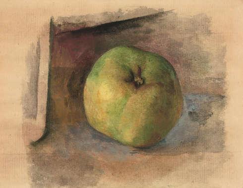 Pablo Picasso, Apfel, Aquarell, Weihnachten 1914, 13.5 x 17.7 cm (Geschenk an Getrude Stein)