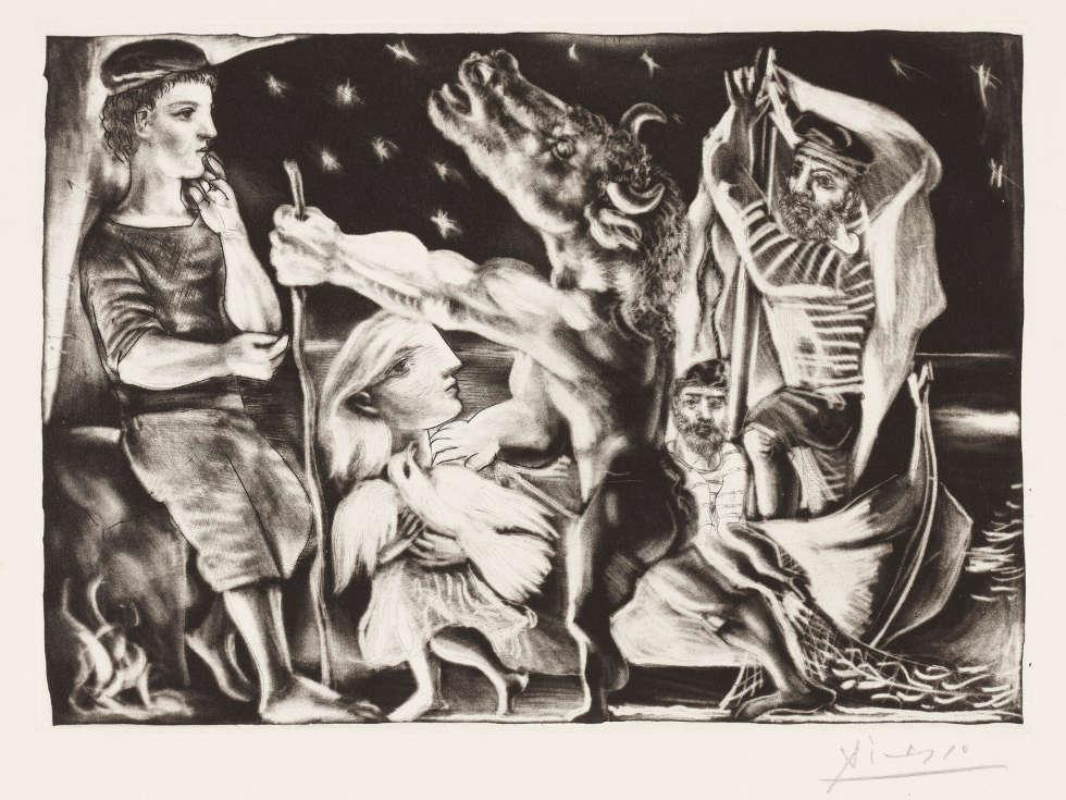Pablo Picasso, Minotaure aveugle guidé par une Filette dans la Nuit [Der blinde Minotaurus von einem Mädchen durch die Nacht geführt], 1934, Abzug 1939, Radierung und Aquatinta auf Vergépapier, 24,7 x 34,7 cm (Städel Museum, Frankfurt am Main, Graphische Sammlung © VG Bild-Kunst, Bonn 2018)
