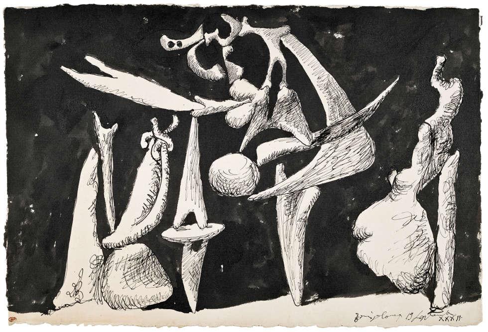 Pablo Picasso, La crucifixion [Die Kreuzigung], 1932, Tusche auf Papier, 34,5 x 50,5 cm (Musée National Picasso © Succession Picasso/DACS London, 2017)