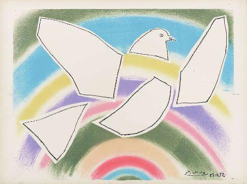Pablo Picasso, Die Taube im Regenbogen, 1952, Lithografie (© Succession Picasso, Paris / VG Bild-Kunst, Bonn 2018)