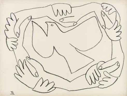 Pablo Picasso, Die verschränkten Hände II, 1952, Lithografie © Succession Picasso, Paris VG Bild-Kunst, Bonn 2018