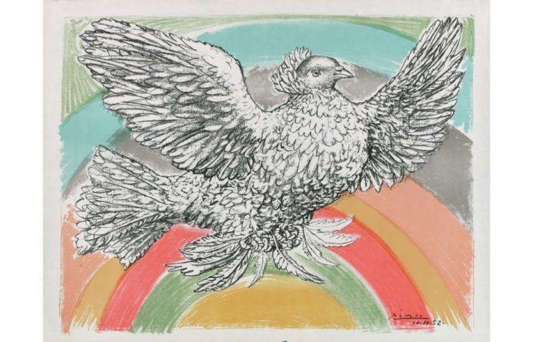 Pablo Picasso, Fliegende Taube im Regenbogen, 1952, Lithografie (© Succession Picasso, Paris / VG Bild-Kunst, Bonn 2018)