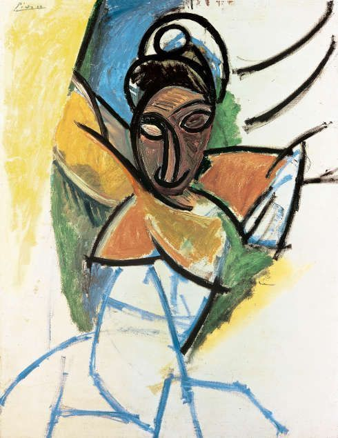 "Pablo Picasso, Frau (Studie zu ""Demoiselles d'Avignon"" [Femme], 1907, Öl/Lw, 119 x 93,5 cm (Fondation Beyeler, Riehen/Basel © 2017, Succession Picasso/ProLitteris, Zürich Foto: Robert Bayer, Basel)"