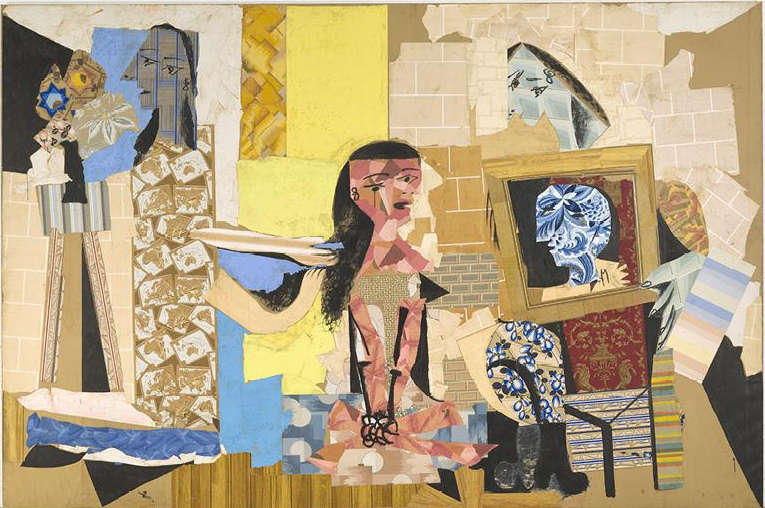 Pablo Picasso, Frauen bei ihrer Toilette, Paris, Winter 1937/38, Collage aus ausgeschnittenen Tapeten mit Gouache auf Papier auf Leinwand geklebt, 299 x 448 cm (Musée national Picasso-Paris, Pablo Picasso gift in lieu, 1979, MP176. Photo © RMN-Grand Palais (Musée national Picasso-Paris) / Adrien Didierjean. © Estate of Pablo Picasso / Artists Rights Society (ARS), New York)