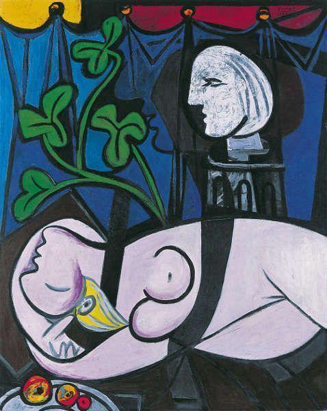 Pablo Picasso, Frauenakt, grüne Blätter und Büste [Femme nue, feuilles et buste], 1932, Öl/Lw, 162 x 130 cm (Privatsammlung © Succession Picasso/DACS London, 2017)